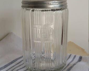 Vintage Sellers Glass Tea Canister Jar/Hoosier glass jar/Triple Skip pattern/ Sellers jars/Hoosier cabinet