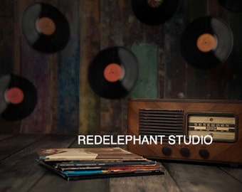 Music vintage Records and Radio with Albums and Vinyls Digital Background/Digital Backdrop