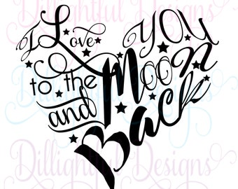 Valentine Heart SVG Decal Love Moon Sweetheart Heart I Love You Be My Valentine