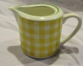 Cute yellow creamer - gingham pattern.  Made in Italy
