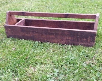 Vintage Large Carpenter Wood Tool Box, Vintage Wooden Tool Caddy, Rustic Wooden Tool Box, Primitive Wood Caddy, X Large Wood Tool Caddy