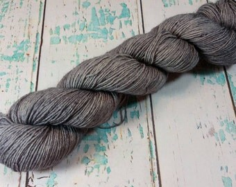 Stainless, hand dyed BFL/trilobal nylon hot weight yarn