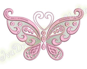 Pink Butterfly Wings Curls, Gold \ Silver thread, machine embroidery design, 5 sizes, File Instant Download