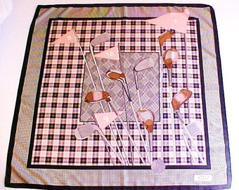 100% Silk Golf Scarf Pink Black White Plaid Italy Hounds Tooth Square