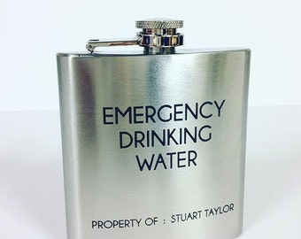 Personalised hip flask, engraved hip flask, gift for him, gift for Dad, Uncle, Grandad, Brother, brushed stainless steel, birthday gift
