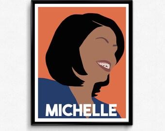 Michelle Obama Portrait- Feminist Art Print, Minimalist Print,