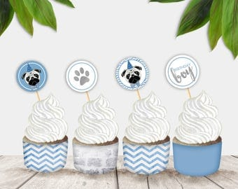 Party Pug Printable Party Circles and Cupcake Wrappers