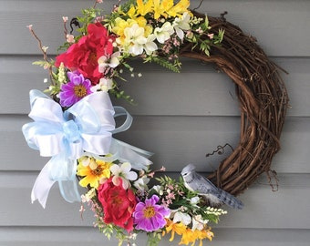 Spring Grapevine Wreath, Spring Wreath for Front Door, Summer Wreath for Front Door, Bird Wreath, Flower Wreath, Grapevine Wreath