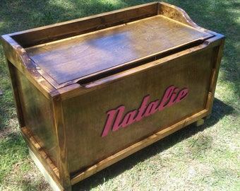 Glossy wooden toy box with name