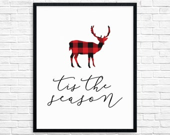 Tis the Season, Buffalo Plaid Christmas Decor, Red Plaid Holiday Wall Art Prints, Christmas Printable Instant Download, Christmas Print