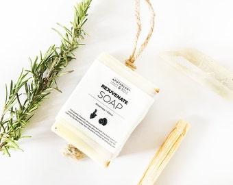 Soap - REJUVENATE / Rosemary + Citrus • Bar Soap, herbal soap, natural soap, all natural, rosemary soap, soap with loop handle