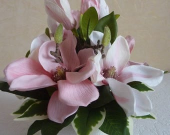 table arrangement,pink flowers,pastel,spring flowers,Wedding decor,magnolia,shabby chic,bridal gift,pink centerpiece,spring arrangement