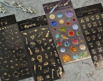 Foil Stickers Set - Universe, Planet, Letters, Opera