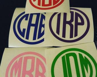 Circle Vinyl Monograms-Car Decals-Ozark-Yeti-Tumblers