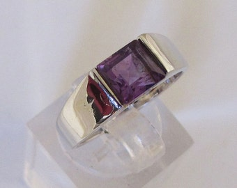 Ring Silver 925/1000 Amethyst size 52
