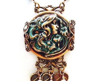 Brass Cameo Necklace, Neo-Victorian Necklace, Art Nouveau Necklace, Filigree Necklace, Neo-Classical Necklace