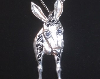 Unique Large Vintage Donkey Necklace Mid Century In Silver Toned Metal With Moving Head and Body