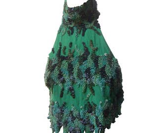 Julian MacDonald Spectacular Silk and Leather Pailette Halter Top.