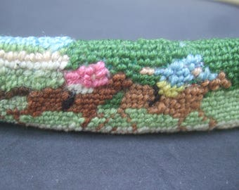 Charming Needlepoint Equestrian Horse Race Belt c 1980s