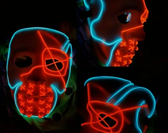 DEADSHOT Style Light Up Mask - 12+Ft EL Wire,Suicide squad,dc,cosplay,exclusive,handmade,Vibrant,neon,glow,Harley Quinn,Comic-Con,comic,lit