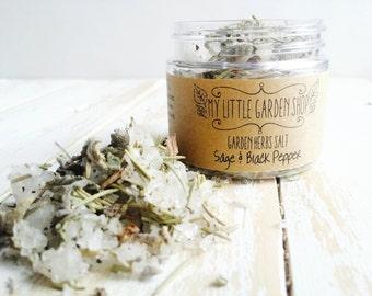 Sage Salt, Black Pepper Salt, Salt Mix, Gift for Chef, Hostess Gift, Rosemary Salt, Organic Herbs, Organic Salt Mix, Organic Salt, Herb Mix