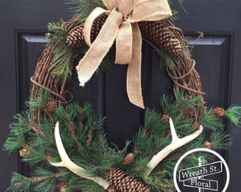 Antler Wreath, Wreath Street Floral, Northwoods Wreath, Grapevine Wreath, Door Wreath, Year Round Wreath, Wildlife Wreath
