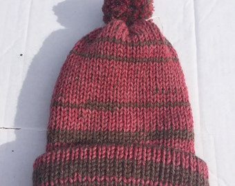 Red and brown double knit ski hat