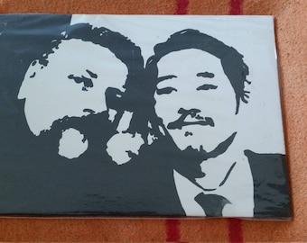 Gleen und Abe Handgemalt Bild ( The Walkind Dead )