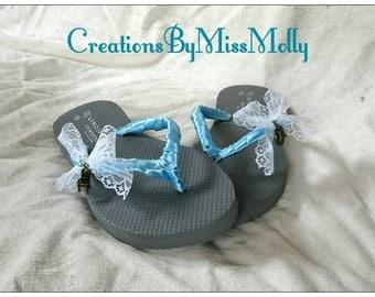 Alice in Wonderland inspired shoes/ Alice in Wonderland flip flops/ Blue flip flops/ Blue sandals/ Wedding flip flops/ Bridal flip flops