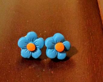 Forget-Me-Not Flower clay post earrings, blue earrings, floral earrings