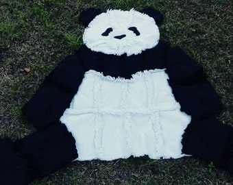 Panda Fleece Throw, 53x62,black and white