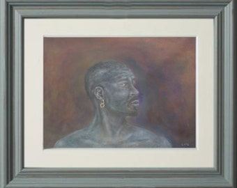 African painting man profile black man male print male african art print male portrait cultural art africa art decor man purples blues