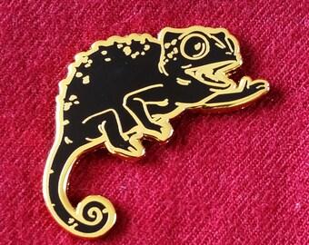 Happy Chameleon Hard Enamel Pin - Black and Gold - Lapel Pin Cloisonné Badge