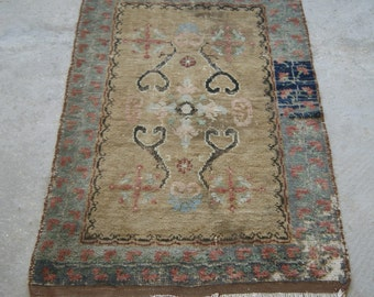 Vintage Oriental Rug, Oushak Cross Carpet