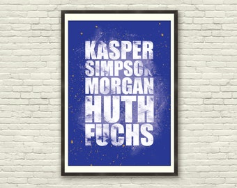 Leicester City Poster Quote - Vardy, Mahrez, Kasper, Morgan, Huth, Simpson - Typography / Quote (A4 & A3)