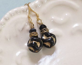 Black and Gold Earrings, Czech Glass beads, Wave Texture, vintage black glass, antiqued brass, Casual Elegance