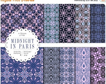 80% Until New Year - Midnight in Paris digital paper by city: blue violet and lilac tiles and digital flowers, lace effect for scrapbooking