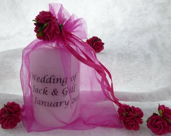 Wedding Favour Candle Personalised, Hot Pink/Fuschia Roses, Candle Any Event Many colours available (2 Inches)