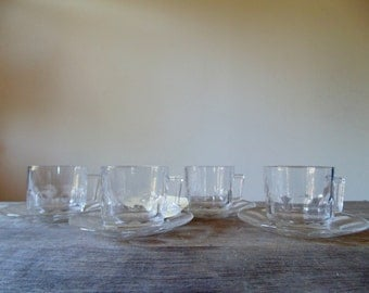 Vintage Glass Cups & Saucers