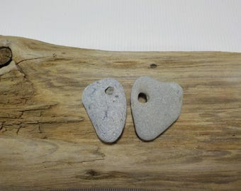 2 Naturally Holed Beach Stones - Hag Stones - Pebbles with natural hole  - Decorative Beach Finds - Odin Stone Talismans #204