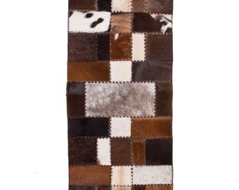 "Luxury Handmade Cowhide Patchwork Hallway & Stair Runner, Brown White, 7'7""x2'6"""