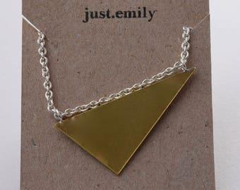 Brass Geometric Necklace | Silver Geometric Necklace