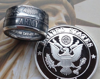 US Army Coin Ring -- 99.99% Pure Silver