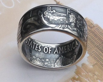 US American Silver Eagle Coin Ring -- 99.99% Pure Silver