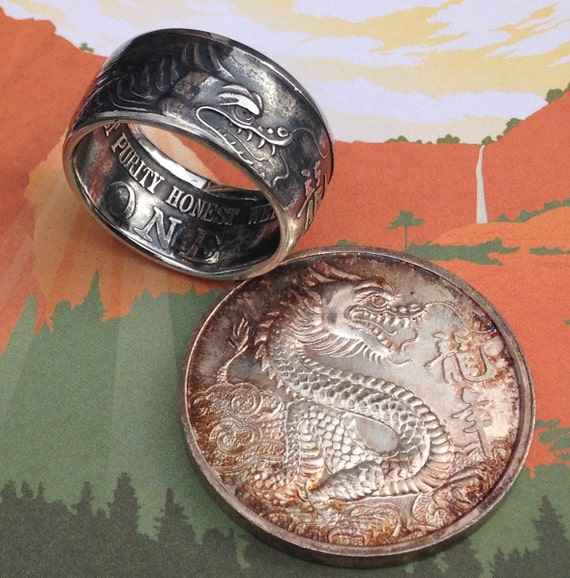 Tri State Refining Dragon Coin Ring 99 99 Pure Silver