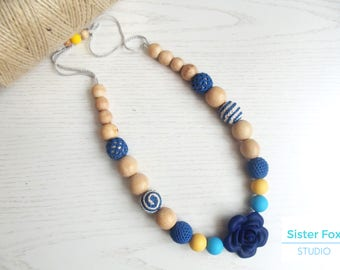 Nursing  necklace Silicone teething Crocheted teething Babywearing Breastfeeding Baby shower gift Easter sale Wooden beaded necklace