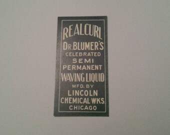 Antique Pharmacy Label - Dr. Blumer's Real Curl Waving Liquid, RealCurl Label, Semi Permanent Waving Liquid Label,   ***Free Shipping***