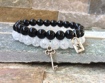 Partner bracelets bracelet set key lock Onyx Berkristall 8mm long distance relationship