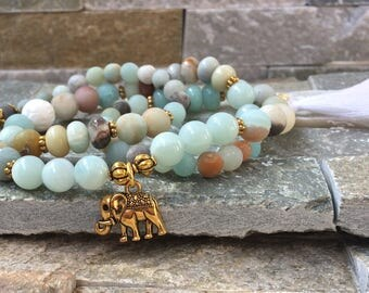 Elephant tassel Lotus Amazonite mala bracelet