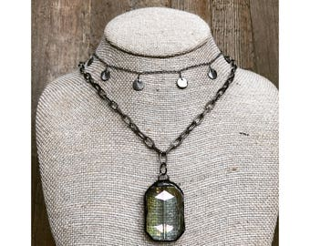 Crystal Gunmetal Necklace